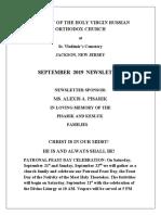Nativity of the Holy Virgin Church - Newsletter - September, 2019