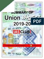 Summary of Budget 2019-20 - IASCLUB