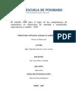 El Método ABP Para El Logro de Las Competncias de Matemática en Situaciones de Cantidad y Regularidad, Equivalencia y Cambio
