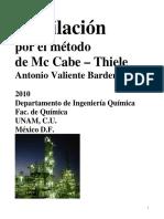 Destilación por el Metodo Mc Cabe Thiele