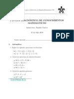 Prueba Diagnostico Matemáticas Básicas