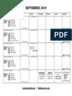 September calendar - 2019