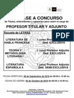 Cartel-Literatura de Habla Francesa-Teoría y Metodología Literaria I- Literatura Española II