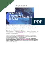 Modelo de Evaluación de Desempeño Laboral