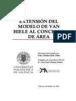 Extensión del modelo de Van Huele al concepto de área