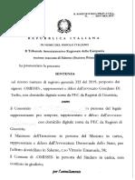 Tar Campania, sezione staccata di Salerno, Sezione Prima, Sentenza 1 agosto 2019