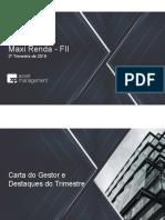 Relatório Trimestral Maxi Renda - 2T19