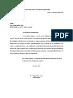 Carta de plan de contingencia