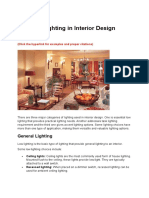 Types of Lighting in Interior Design
