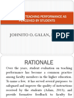 Evaluating Teaching Performance as Perceived by Students