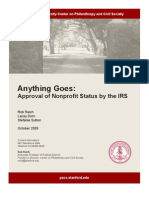 501c3  'Anything Goes' Stanford report