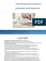 Careers in the Restaurant Industry Connecting Education and Employment PPT [Autosaved]