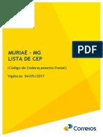 novos CEPs da cidade de Muriaé/MG