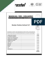 Manual bomba turbina vertical para pozo profundo hidrostal