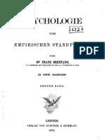 Brentano, Franz. Psychologie Vom Empirischen Standpunkt. Erster Band