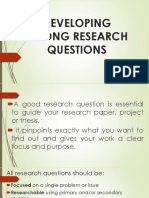 Developing Strong Research Questions Handout