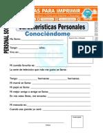 Ficha de Caracteristicas Personales Para Segundo de Primaria