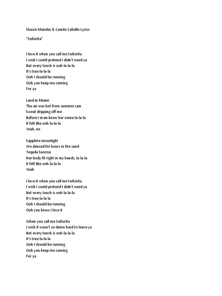Senorita | Song Recordings Produced | Number One Singles