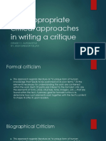 Uses Appropriate Critical Approaches in Writing a Critique