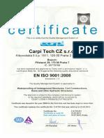 Carpi Tech CZ ISO 9001 Certificate