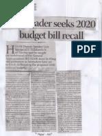 Business Mirror, Sept. 2, 2019, House leader seeks 2020 budget bill recall.pdf
