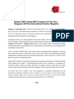 Sasseur REIT named REIT Company Of The Year – Singapore 2019 by International Investor Magazine