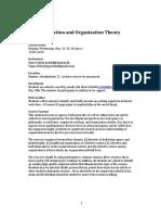 Collective Action and Organization Theory. Course Syllabi