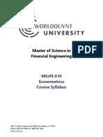 Worldquant university Econometrics