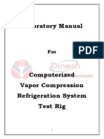 Vapor Compression Refrigeration Test Rig Computerised Lab Manual