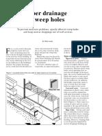 Drainage weep holes