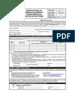 GS Form No. 22 - Destruction of Gaming Equipment - Paraphernalia Notification Form