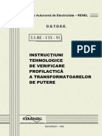 3.1. RE - I53 - 91 Verificarea Profilactica a Transformatoarelor de Putere