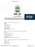 Download SSC Junior Engineer Papers General Awareness 22 Jan 2018 Afternoon Shift