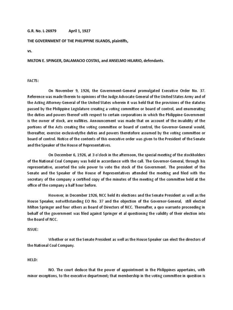 Government of the Phil  Islands vs  Springer | Speaker