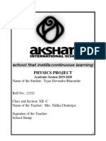 Tejas Phy Project 2019- 2020