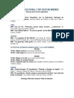 Agenda cultural y de ocio de Mieres. Semana del 2 al 8 de septiembre.