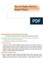 Classification of Hydro Electric Plnts