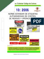 Necc-10 Norma Estándar Etiquetas Autoadhesivas de Control Riesgos y Operacionales