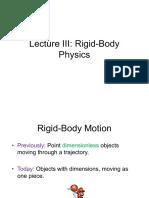Lecture 3 - Rigid-Body Physics