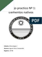 (Mineralogía 2) Practica Nº 1- Elementos Nativos. Unsj geología. Agustin campanello