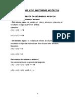 Formula de Operaciones Con Números Enteros