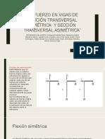 Esfuerzo en Vigas de Sección Transversal Simétrica