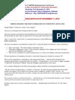 E-2010 NaFFAA - Program Highlights as of Nov. 11, 2010