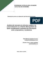 Asimetría de Información en La Comercializacion de Vehiculos Usados