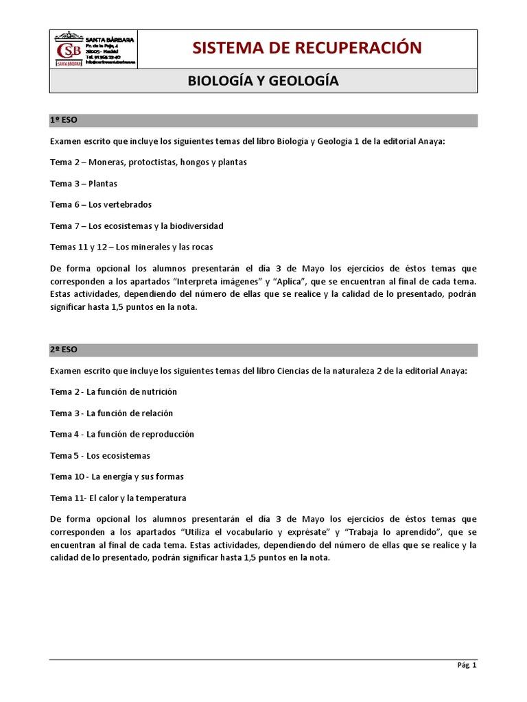 Sistema De Recuperación Biología Y Geología Nutrición Dieta Y Nutrición