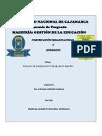 Ensayo El Liderazgo y Trabajo en Equipo Mariela Becerra c