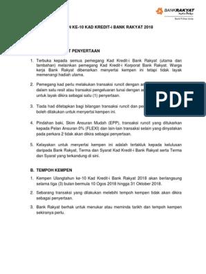 Kempen Ulangtahun Ke 10 Kad Kredit I Bank Rakyat 2018 Terma Dan Syarat