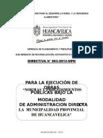 Directiva 003-2013 Normas y Procedimientos Para Ejecucion de Obras Por Administracion Directa