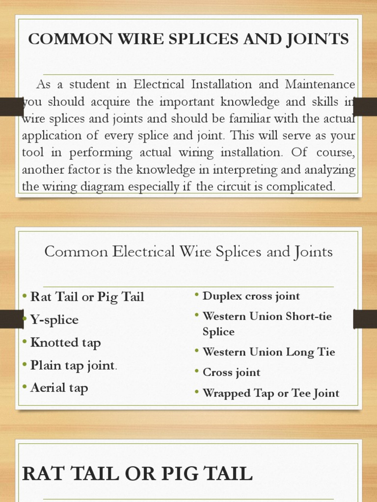 3 Common Wire Splices And Joints Pptx Electrical Wiring Wire
