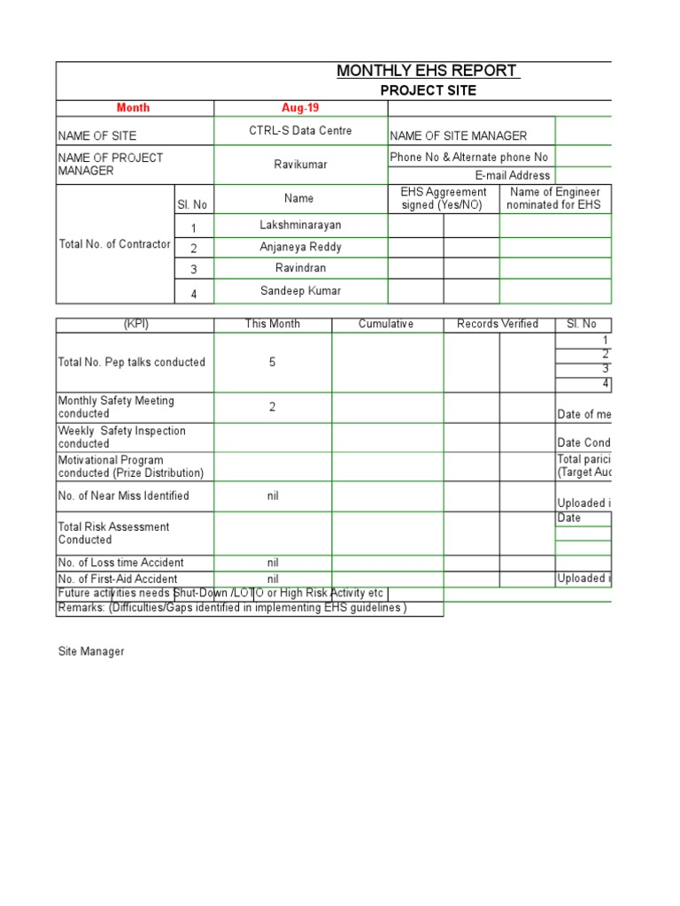 Monthly Safety Report Sample Xls Safety Prevention